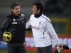 Claudio Filippi e Gianluigi Buffon durante un riscaldamento prepartita